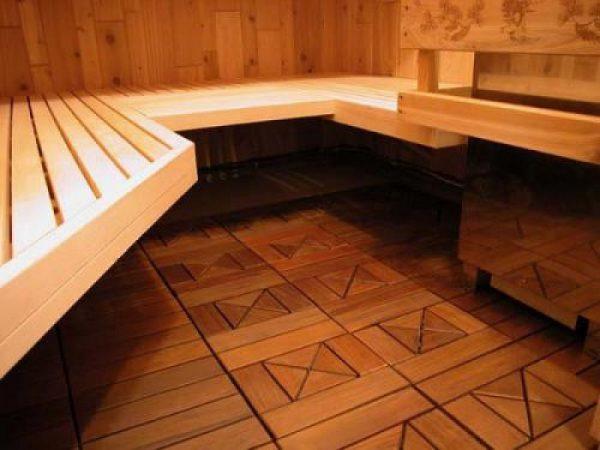 Декоративный пол в бане