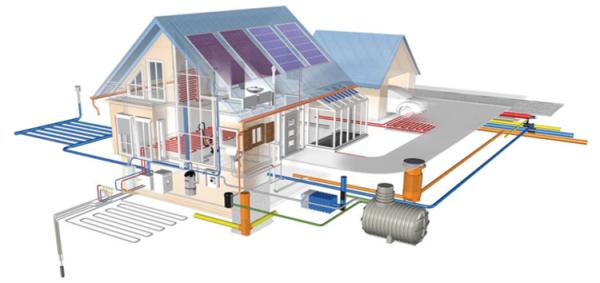 План расположения внутреннего и внешнего модулей канализационной системы для частного дома