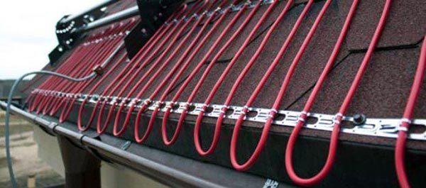 Схема укладки электрической системы на кровле капельным методом