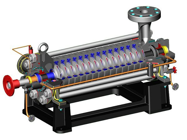 Внутреннее устройство многоступенчатого центробежного насоса